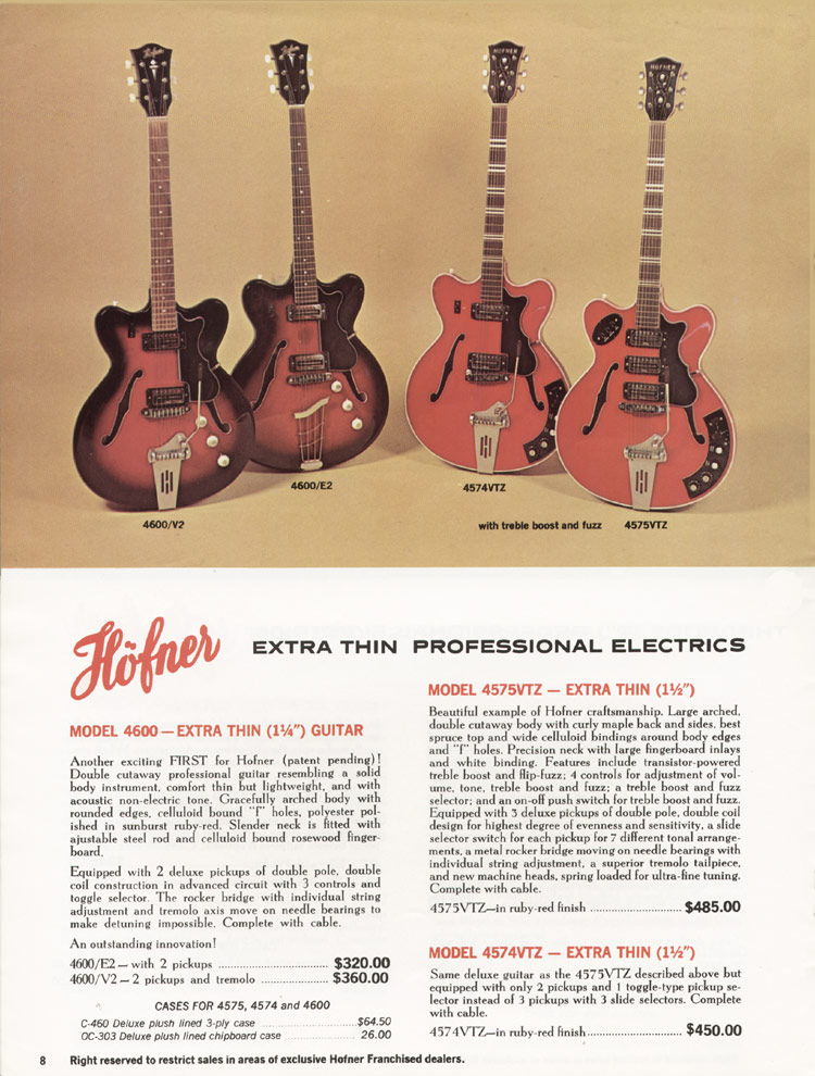 1967 Hofner electric guitar and bass catalogue - page 8 - Hofner 4574VTZ, 4575VTZ, 4600/E2 and 4600/V2