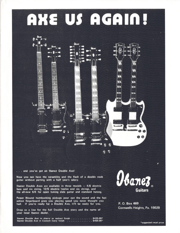 Ibanez advertisement (1974) Axe Us Again