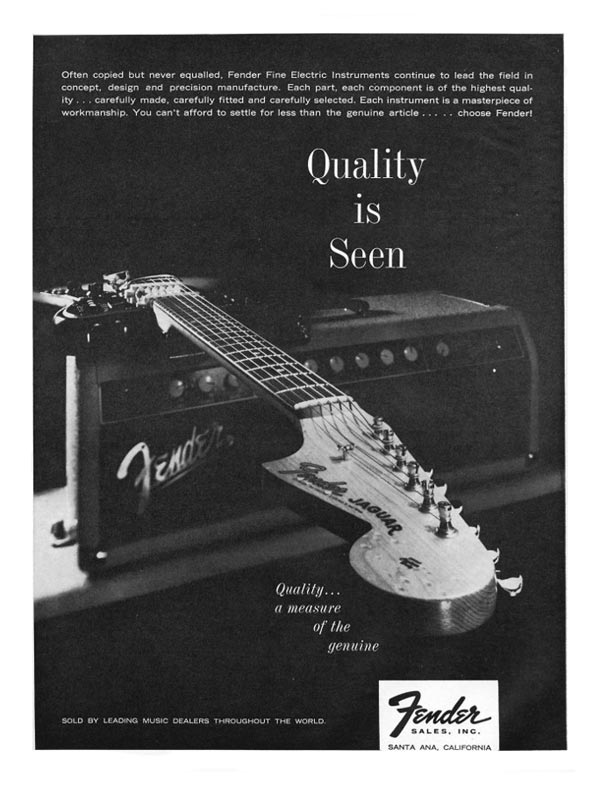 Fender advertisement (1962) Quality is seen