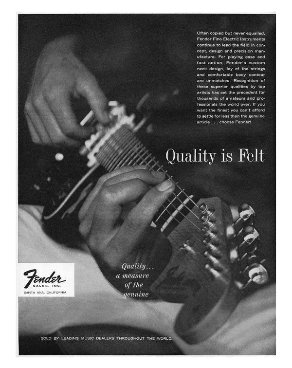 Fender advertisement (1963) Quality is felt
