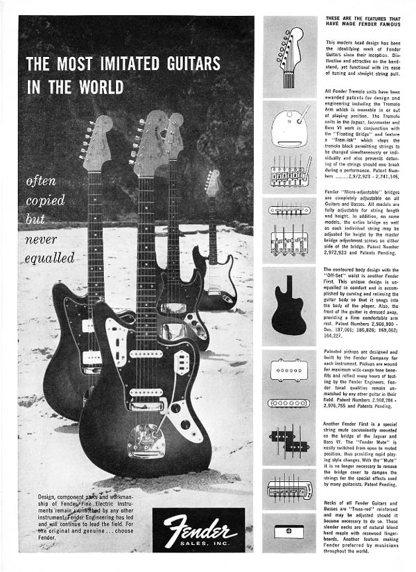 Fender advertisement (1963) The most imitated guitar in the world