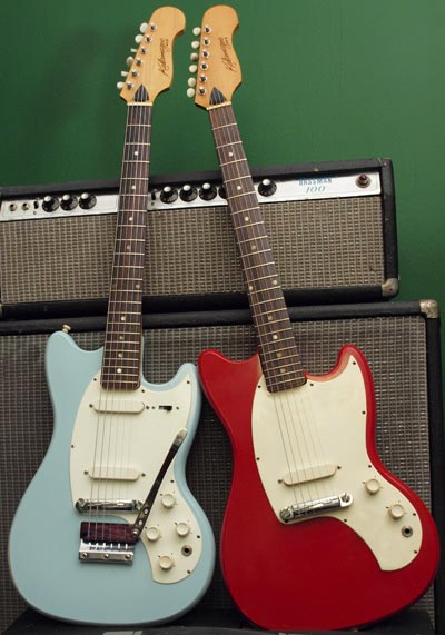 Kalamazoo KG2a (blue) and KG1 (red) guitars, both built in 1966