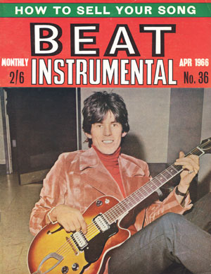 April 1966 Beat Instrumental cover showing Rolling Stone Keith Richards with his dual-pickup Guild M65 Freshman