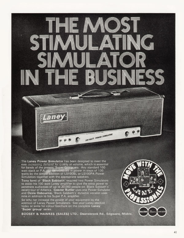 Laney advertisement (1971) The Most Stimulating Simulator in the Business
