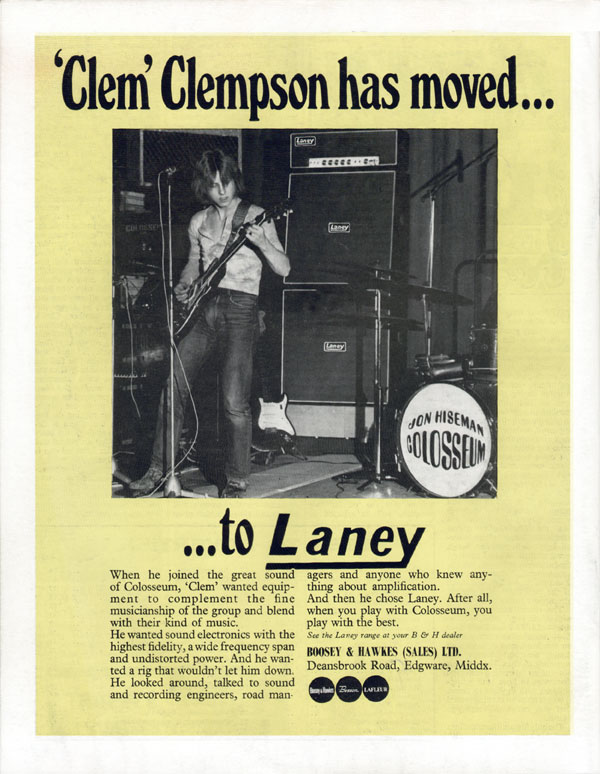 Laney advertisement (1970) Clem Clempson has moved... ... to Laney