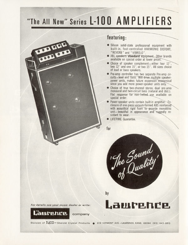 "Lawrence advertisement (1969) ""The All New"" Series L-100 Amplifier"