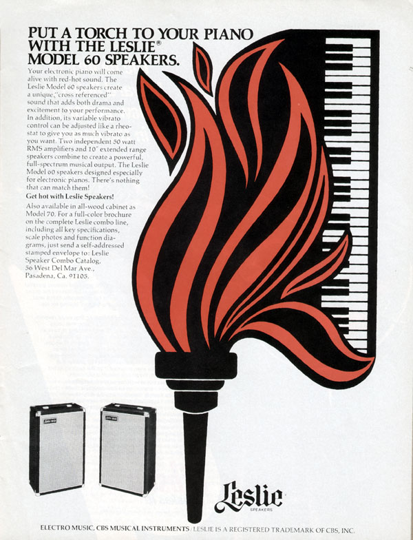 Leslie advertisement (1974) Put a Torch to Your Piano with the Leslie Model 60 Speakers