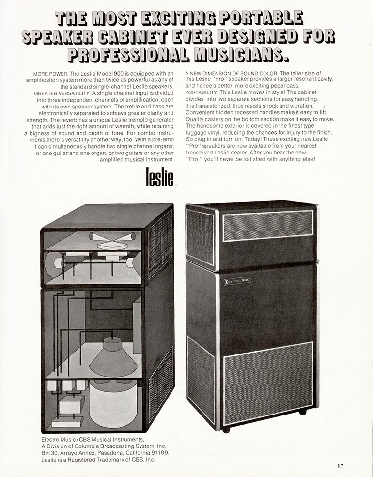 Leslie advertisement (1969) The Most Exciting Portable Speaker Cabinet Ever Designed for Professional Musicians