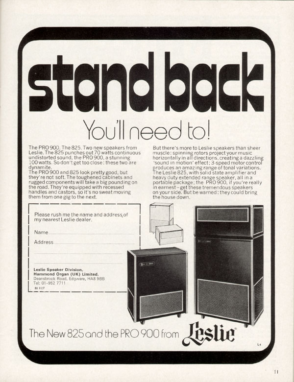 Leslie advertisement (1970) Strand Back
