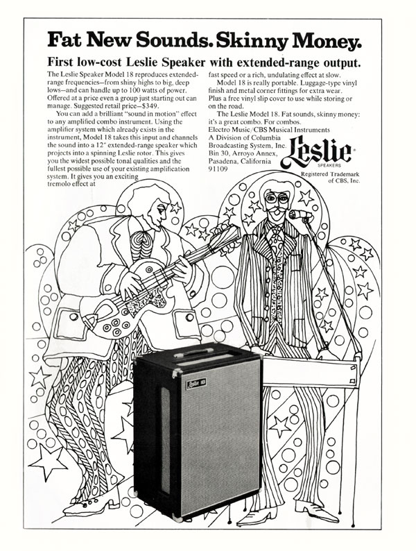 Leslie advertisement (1971) Fat New Sounds. Skinny Money