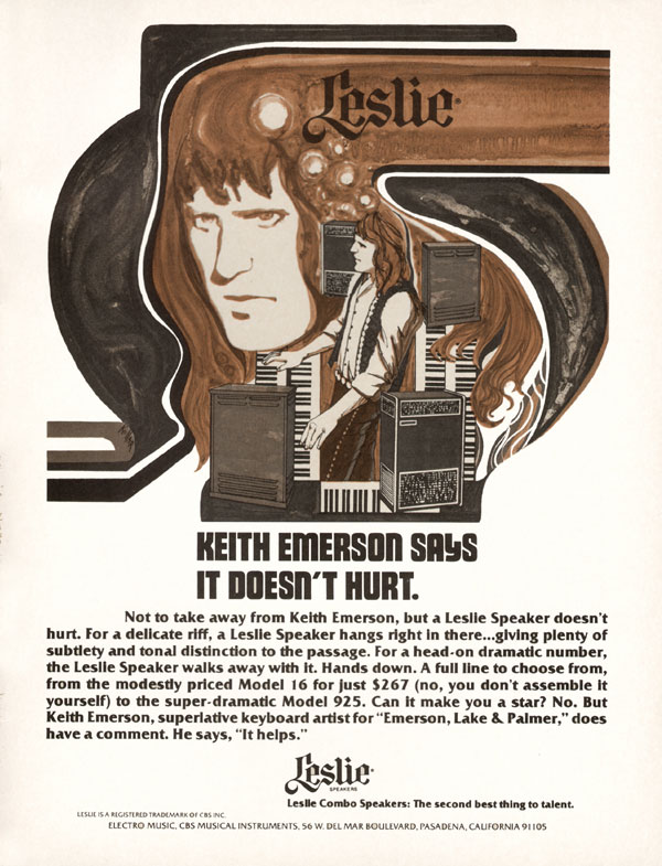Leslie advertisement (1975) Leslie. Keith Emerson Says it Doesn
