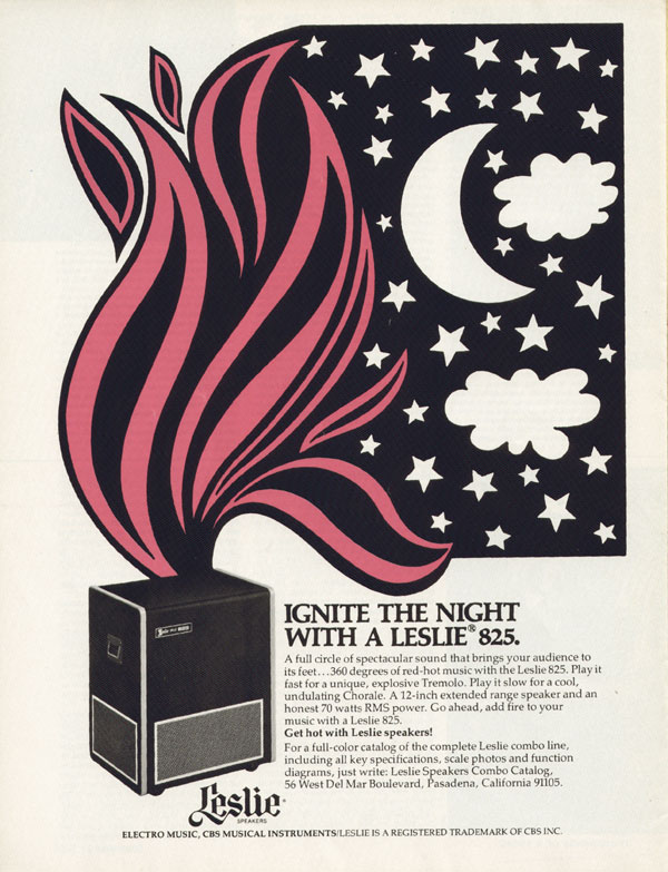 Leslie advertisement (1974) Ignite the Night With a Leslie 825