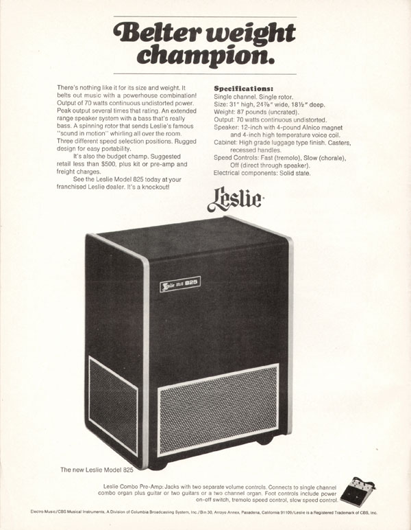 Leslie advertisement (1970) Belter Weight Champion