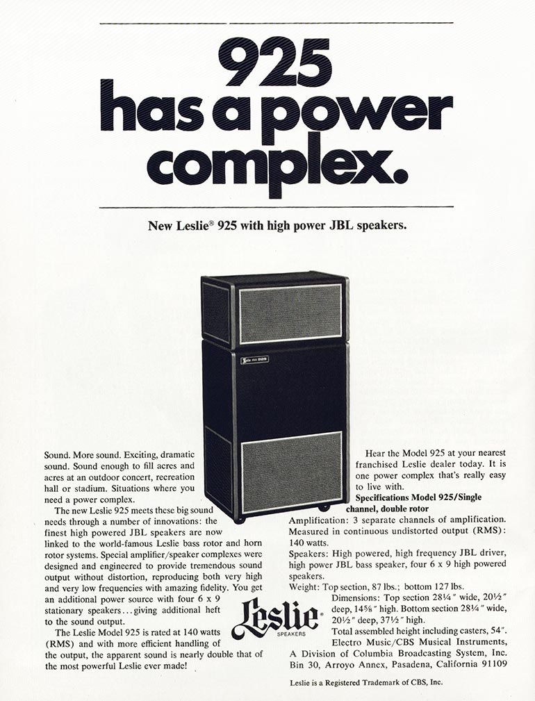Leslie advertisement (1971) 925 Has A Power Complex