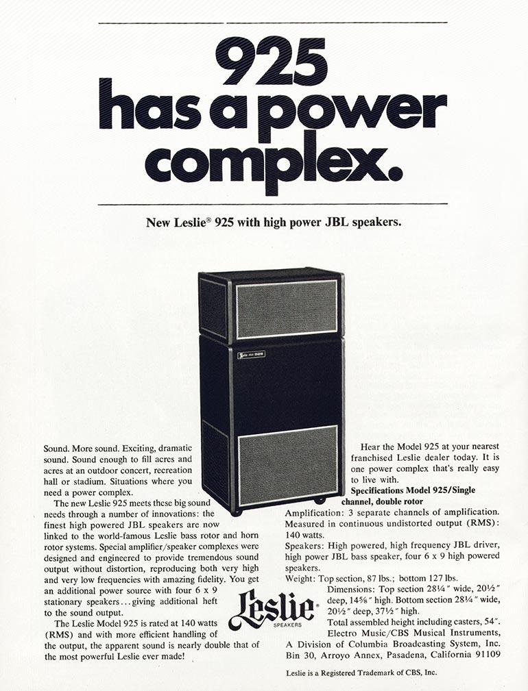 Leslie advertisement (1971) 925 Has A Power Complex
