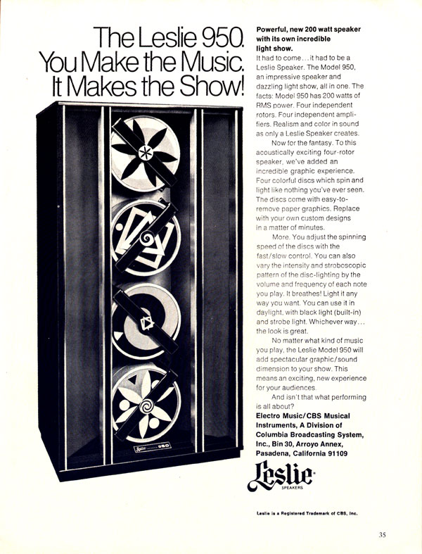 Leslie advertisement (1971) The Leslie 950. You Make the Music, It Makes the Show!