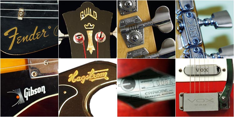 Guitar manufacturers often put their brand name on headstocks, pickguards, pickups, tailpieces and bodies