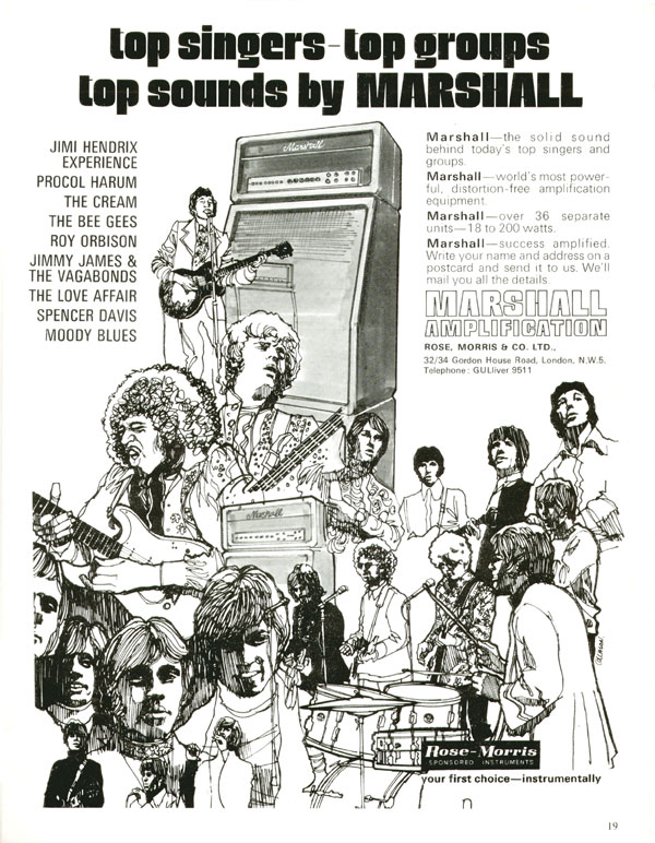 Marshall advertisement (1968) Top Singers - Top Groups Top Sounds By Marshall