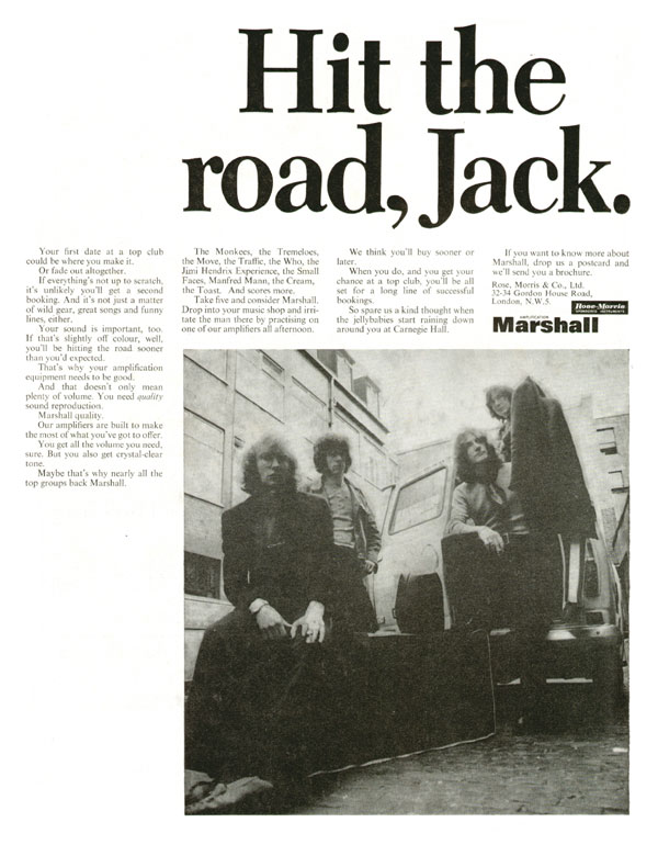 Marshall advertisement (1969) Hit the Road, Jack