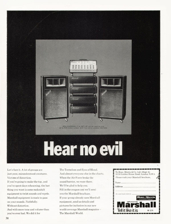 Marshall advertisement (1971) Hear No Evil