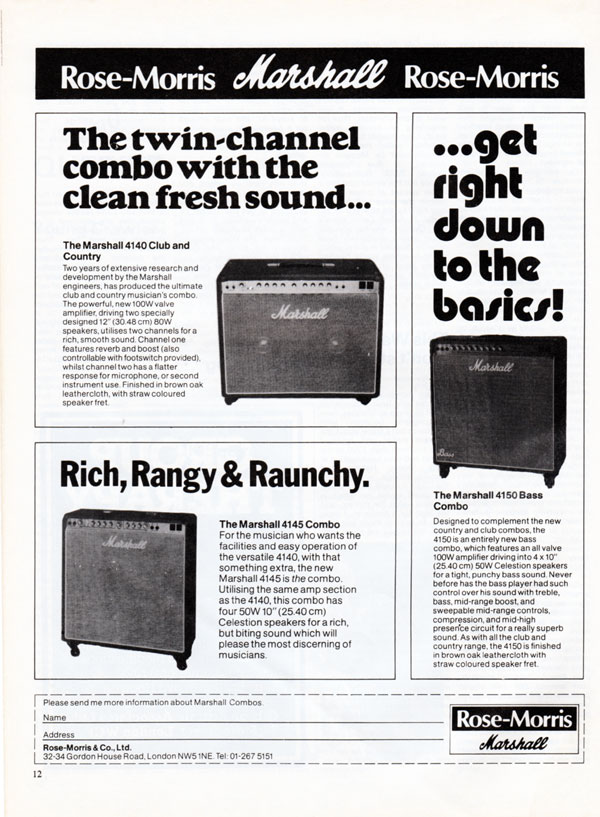 Marshall advertisement (1979) Rose-Morris Marshall