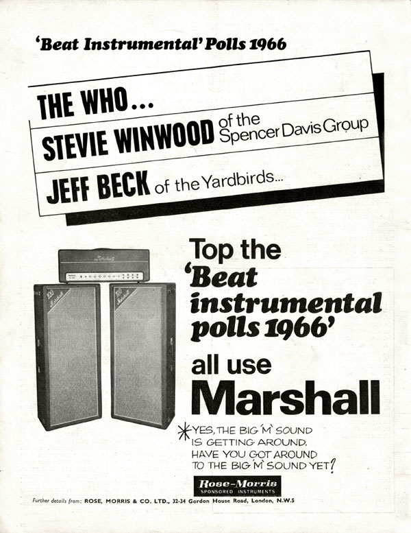 Marshall advertisement (1966) Beat Instrumental Polls 1966