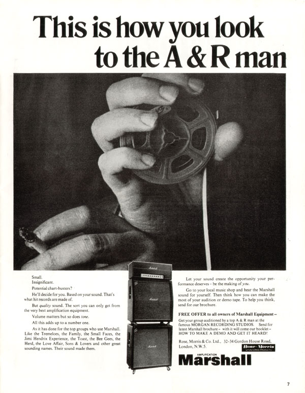 Marshall advertisement (1970) This is How You Look to the A&R Man