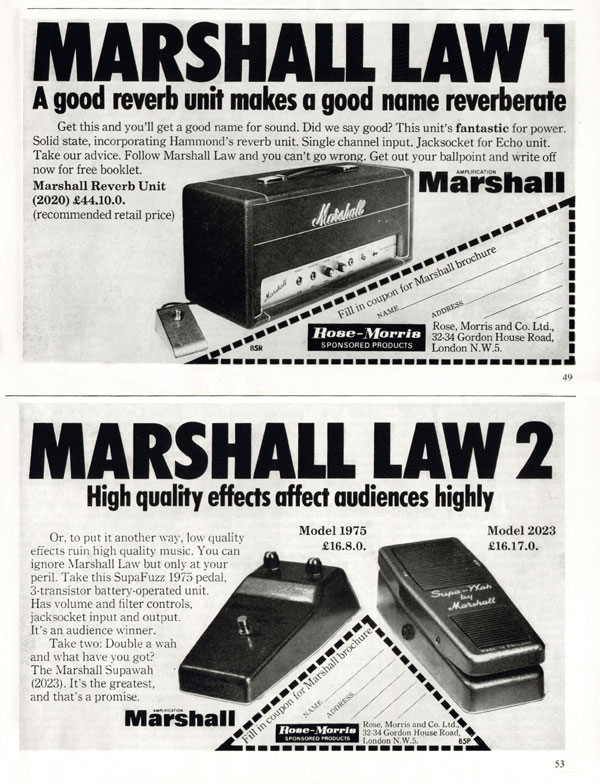 Marshall advertisement (1970) Marshall Law 1 & 2