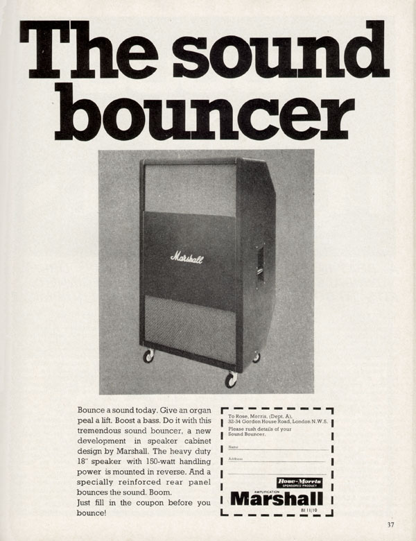Marshall advertisement (1970) The Sound Bouncer