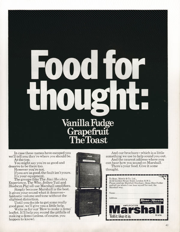 Marshall advertisement (1970) Food For Thought. Vanilla Fudge. Grapefruit. The Toast.