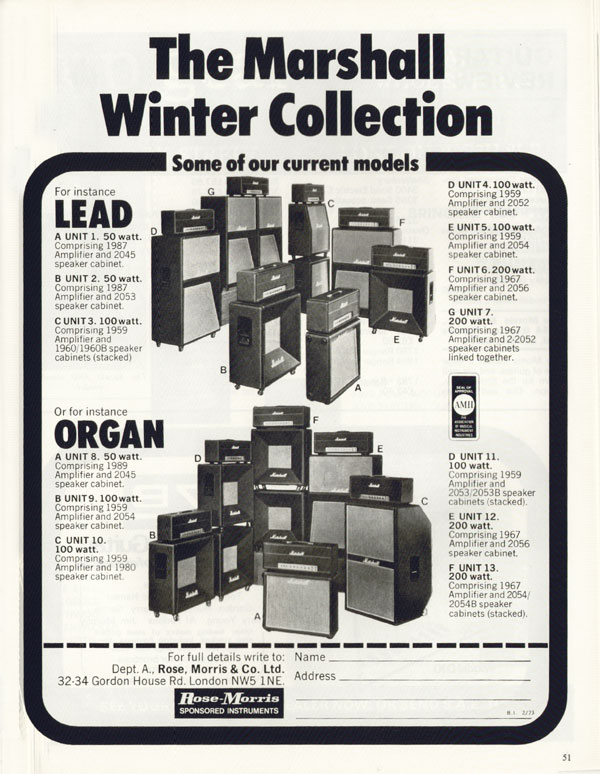 Marshall advertisement (1973) The Marshall Winter Collection