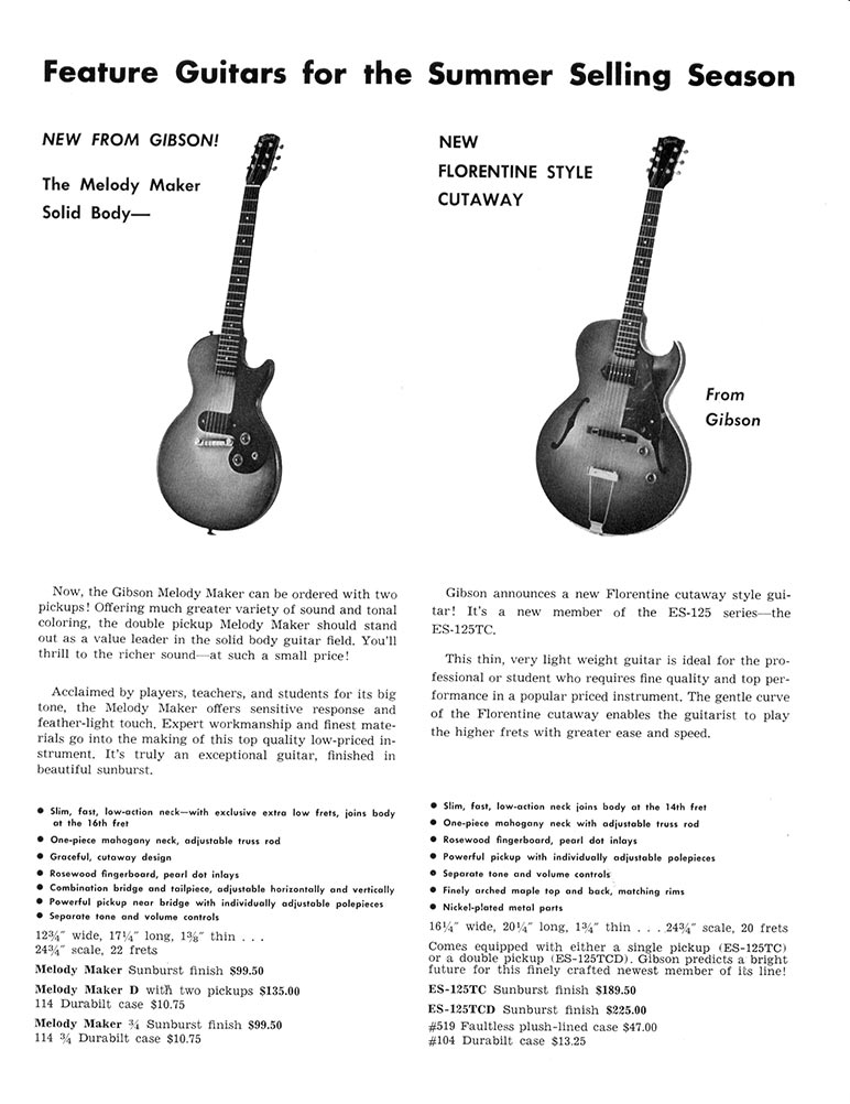 1960 Melody maker and ES-125TC promotional page