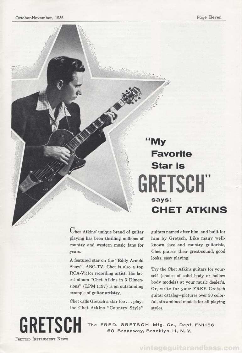 "Gretsch advertisement (1956) ""My Favorite Star is Gretsch"" says Chet Atkins"