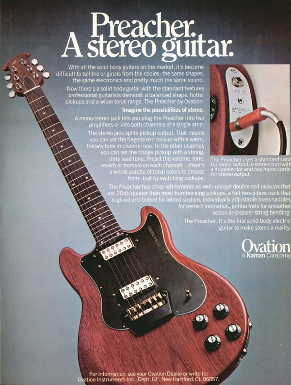Ovation advertisement (1979) Preacher. A stereo guitar