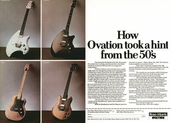 Ovation advertisement (1977) How Ovation took a hint from the 50s
