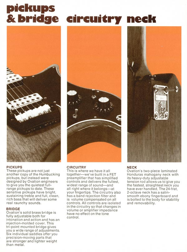 1975 Ovation solid-body catalogue page 5. Details of the Deacon and Breadwinner circuitry, hardware and neck