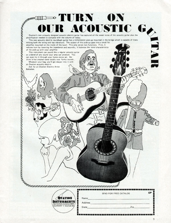 Ovation advertisement (1972) Turn On Our Acoustic Guitar