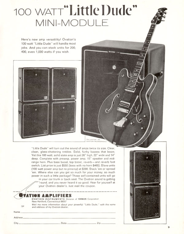 Ovation advertisement (1969) 100 Watt