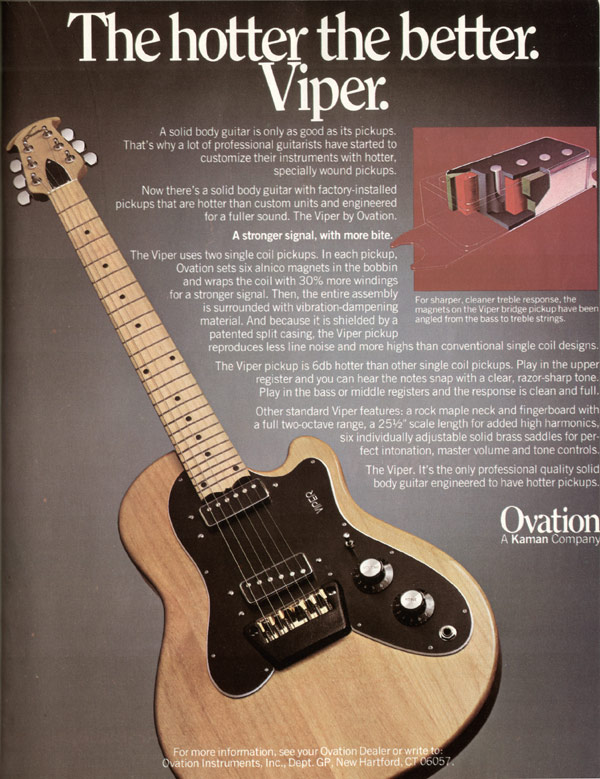 Ovation advertisement (1979) The Hotter the Better. Viper