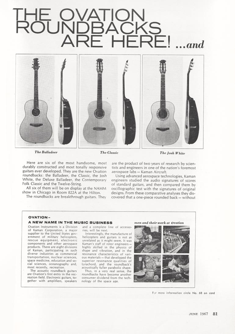 Ovation advertisement (1967) The Ovation roundbacks are here