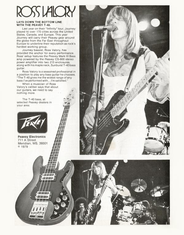 Peavey advertisement (1980) Ross Valory Lays Down the Bottom Line with the Peavey T-40