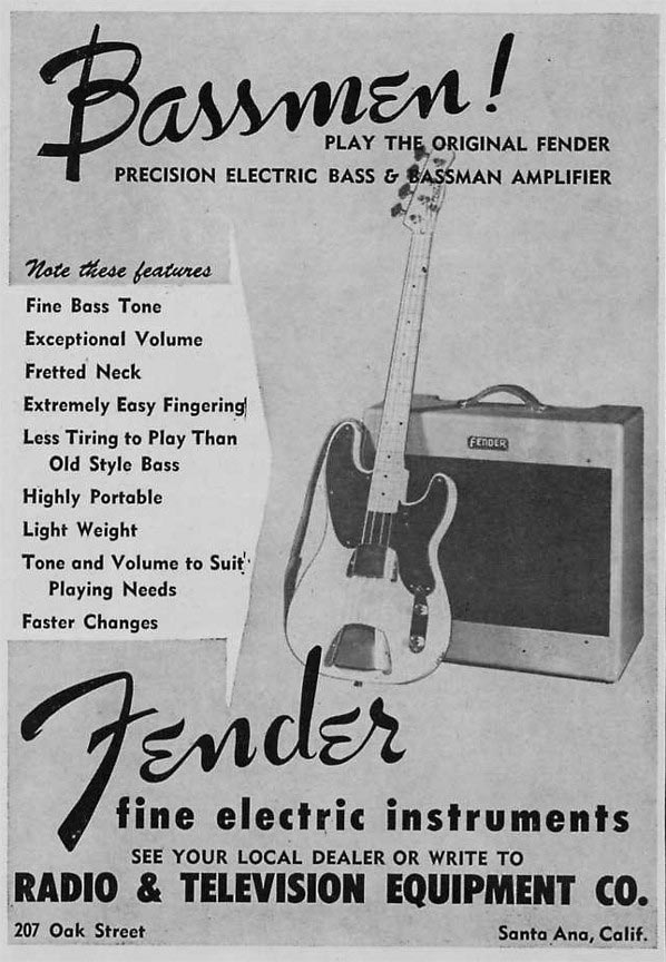 Fender advertisement (1953) Bassmen! Play the original Fender Precision electric bass & Bassman amplifier