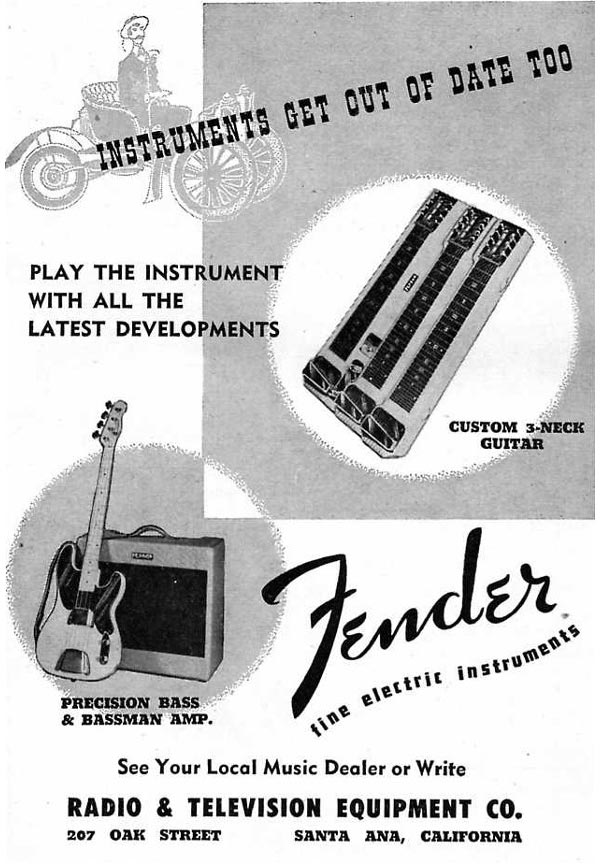 Fender advertisement (1953) Instruments get out of date too