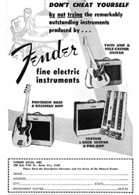 1953 Fender advertisement for the Telecaster guitar, Precision bass, Twin and Bassman amplifiers