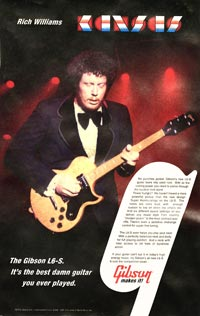 1977 Gibson poster featuring Rich Williams of Kansas, with his modified L6-S