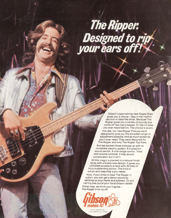 Gibson advertisement (1974) The Ripper. Designed To Rip Your Ears Off