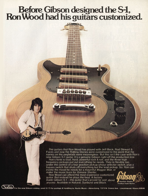 Gibson advertisement (1977) Before Gibson Designed The S-1, Ron Wood Had His Guitars Customized