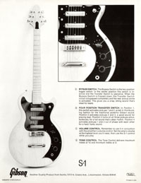 1978 spec sheet for the Gibson S-1