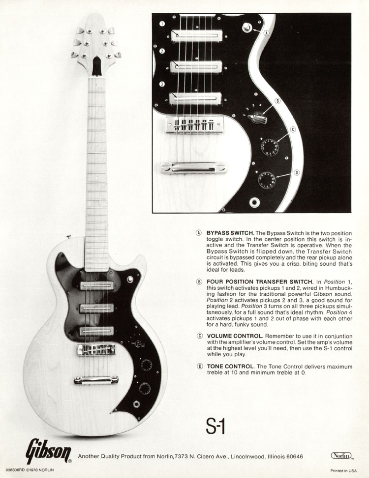 Description of Controls flyer for the Gibson S-1