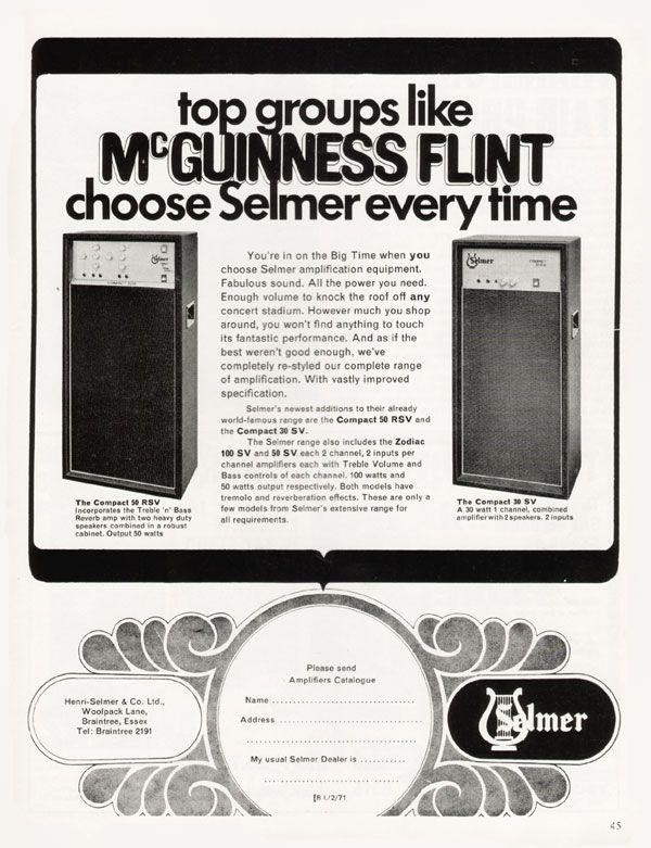 Selmer advertisement (1971) Top Groups Like McGuiness Flint Choose Selmer Every Time
